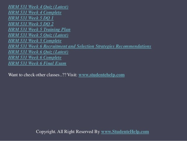 hrm 531 employment law compliance plan hrm 531 week 2 employment law compliance plan to purchase this, click here h.