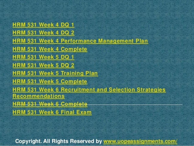 hrm 531 training plan