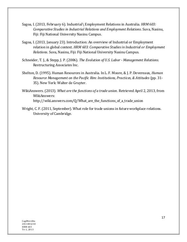 Sagoa, I. (2013, February 6). Industrial Employment Relations in Australia. HRM 603:       Comparative Studies in Industri...