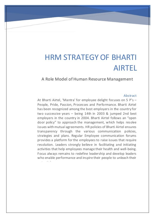 HRM Strategy of Airtel