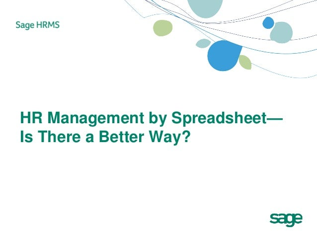 HR Management by Spreadsheet—Is There a Better Way?
