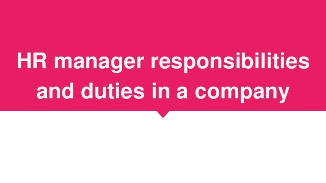 hr manager duties and responsibilities pdf
