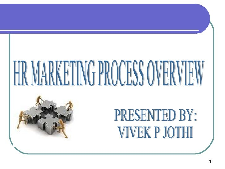 HR MARKETING PROCESS OVERVIEW PRESENTED BY: VIVEK P JOTHI