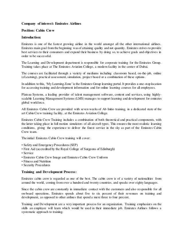 Training And Development Process Of Emirates Cabin Crew
