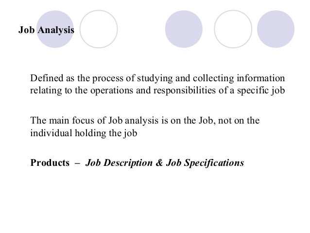 Job AnalysisDefined as the process of studying and collecting informationrelating to the operations and responsibilities o...