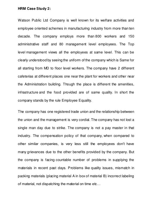 human resource management case study assignment