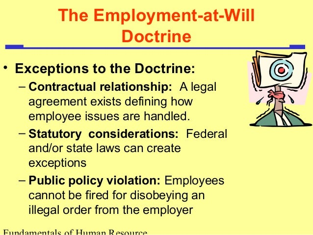 employment at will doctrine Monthly labor review january 2001 3 employment at will the employment-at-will doctrine: three major exceptions in the united states, employees without a written.