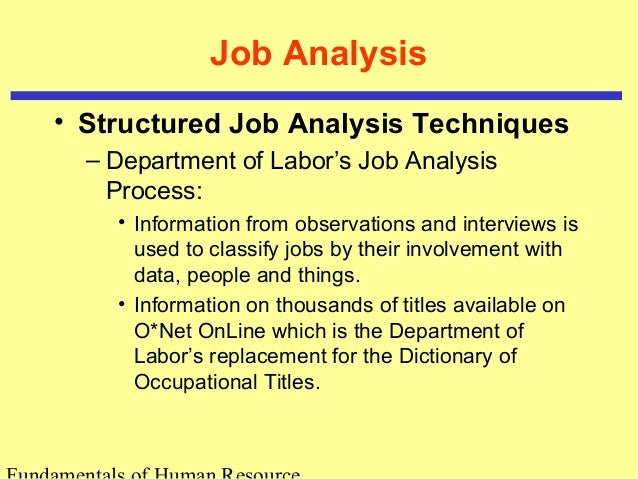 an introduction to job analysis method 5 job description the job description is necessarily based on the information obtained through the job analysis interview it is prepared primarily for defining.