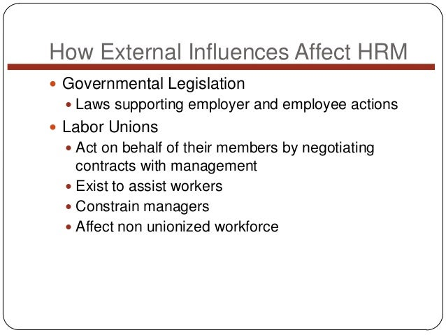 How External Influences Affect HRM  Governmental Legislation  Laws supporting employer and employee actions   Labor Uni...