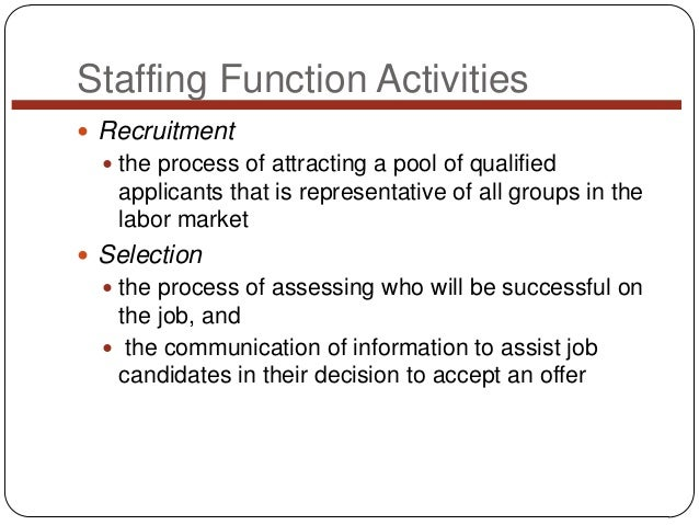 Staffing Function Activities  Recruitment  the process of attracting a pool of qualified  applicants that is representat...