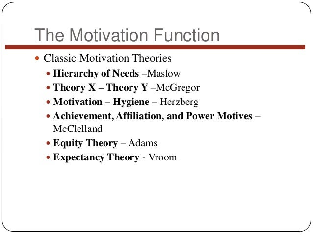 The Motivation Function  Classic Motivation Theories  Hierarchy of Needs –Maslow  Theory X – Theory Y –McGregor  Motiv...