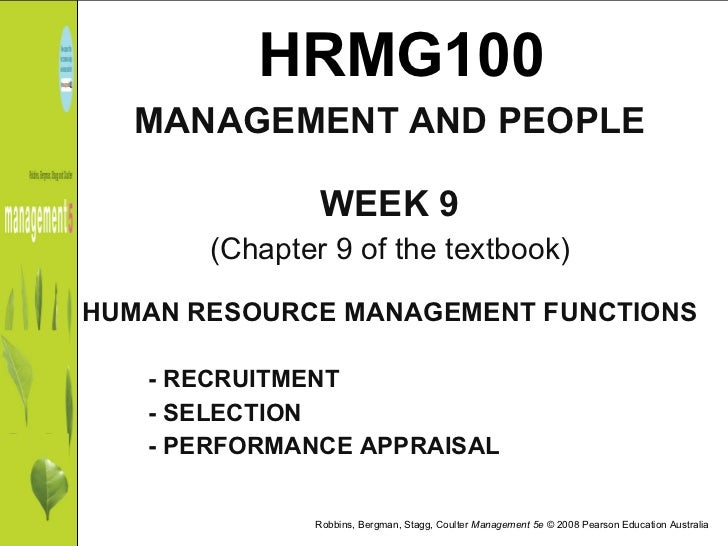 HRMG100 <ul><li>MANAGEMENT AND PEOPLE </li></ul><ul><li>WEEK 9 </li></ul><ul><li>(Chapter 9 of the textbook) </li></ul><ul...