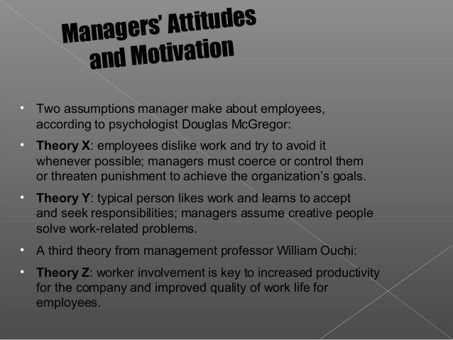 an analysis of douglas mcgregors theory x and theory y as an industrial management professor at the  The eminent psychologist douglas mcgregor has given his theory of motivation called theory x and theory y he first presented his theory in a classic article titled ' the human side of enterprise ' he treated traditional approach to management as 'theory x' and the professional approach to management as 'theory y.