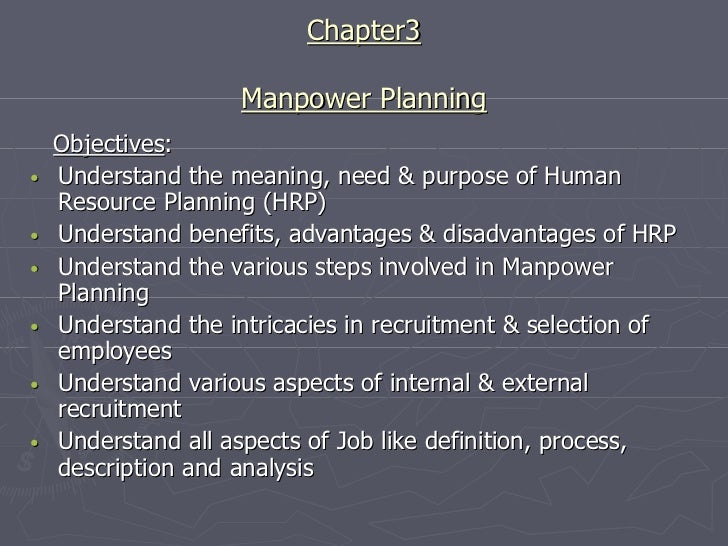 Chapter3                    Manpower Planning    Objectives:•   Understand the meaning, need & purpose of Human    Resourc...