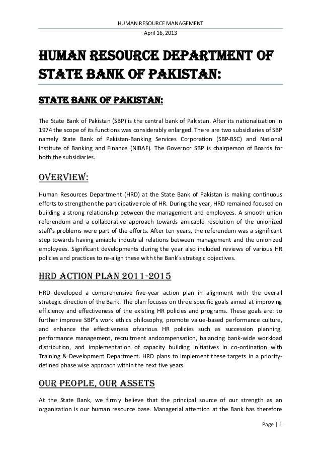 Human Resource Department Of State Bank Of Pakistan