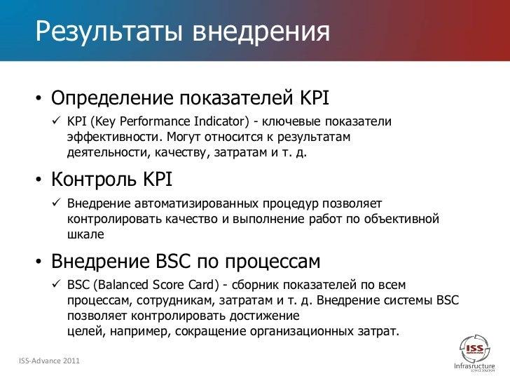 Результаты внедрения    • Определение показателей KPI         KPI (Key Performance Indicator) - ключевые показатели      ...