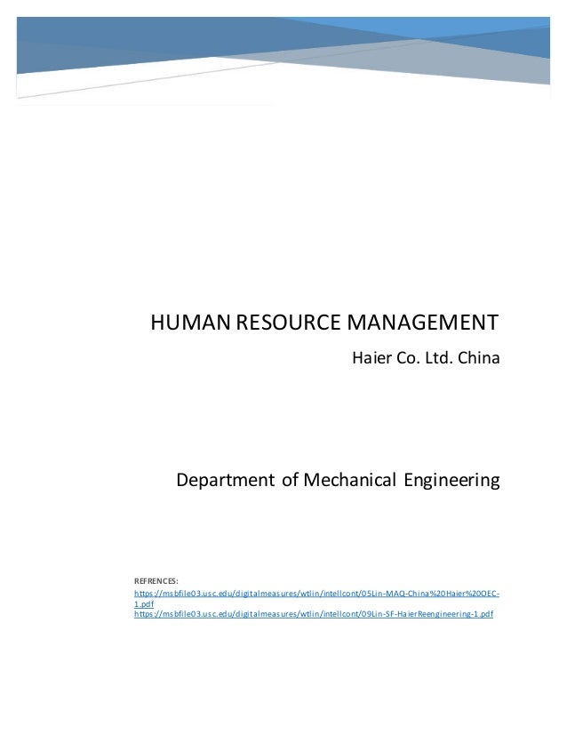 hrm of haier china
