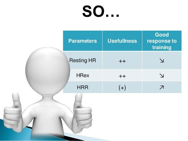 Parameters Usefullness Good response to training Resting HR ++ ↘ HRex ++ ↘ HRR (+) ↗ SO…