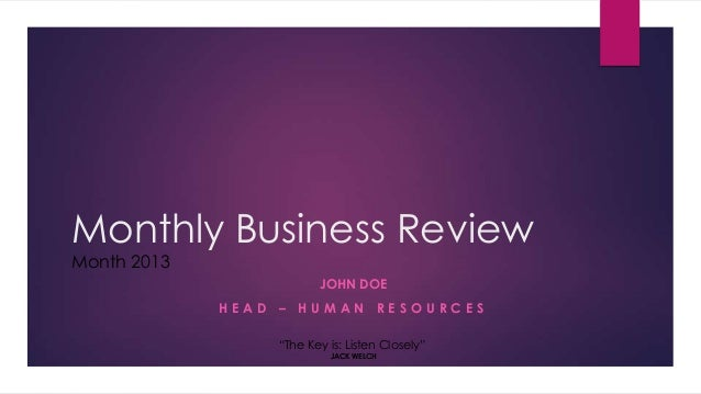 Hr Monthly Business Review Sample Presentation