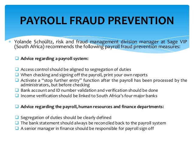 taking action against payroll fraudsters - Payroll Duties