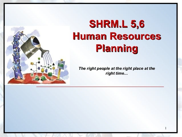 SHRM.L 5,6 Human Resources Planning The right people at the right place at the right time…  1
