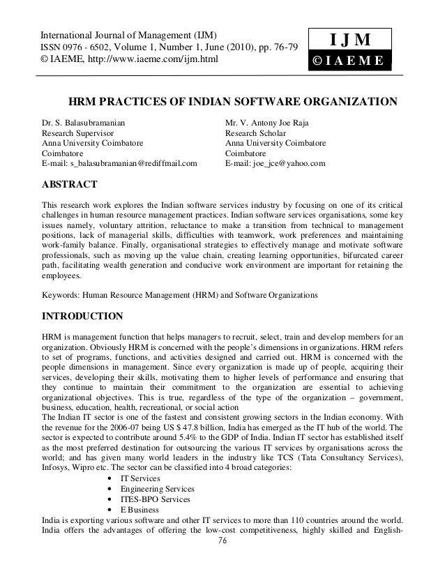 Research paper on hrm practices in india