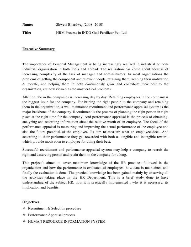 Name: Shweta Bhardwaj (2008 -2010)<br />Title:      HRM Process in INDO Gulf Fertilizer Pvt. Ltd.<br />    <br />Executive...