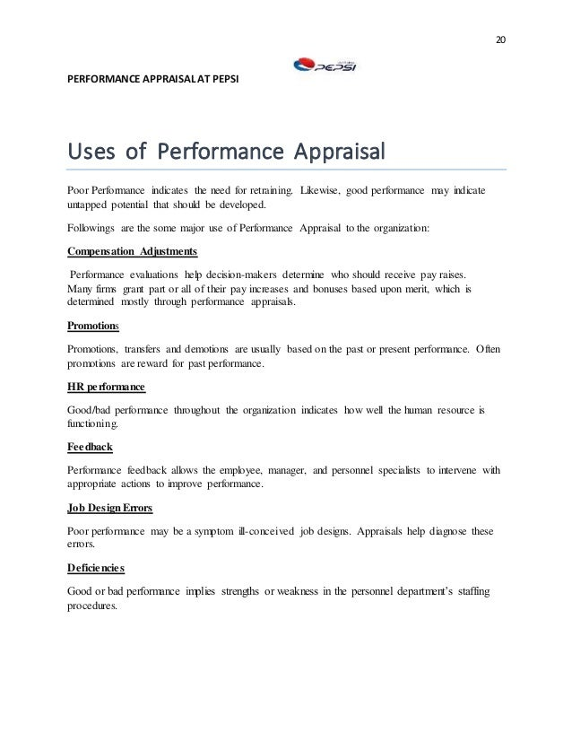"""pepsi performance appraisal 2 performance appraisal at pepsi acknowledgement ''vital to every  operation is cooperation"""" we really agree to this wonderful."""