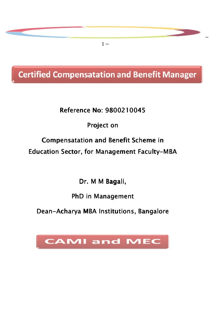~                      1~         Reference No: 9800210045                 Project on   Compensatation and Benefit Scheme ...