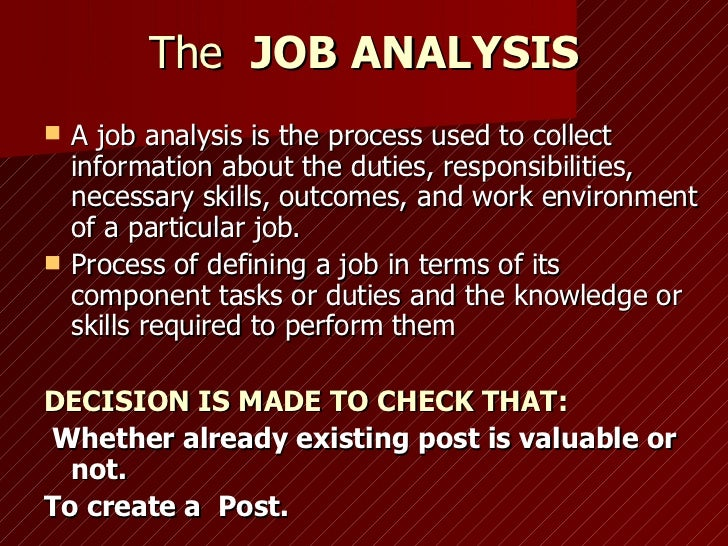 hrm 590 job analysis Hrm 590 week 3 assignment 1 job analysis purpose: to create a new job description for a new position in the human resource department this wi.