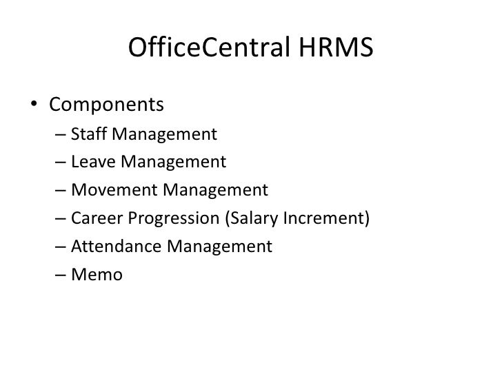 OfficeCentral HRMS Training Slides