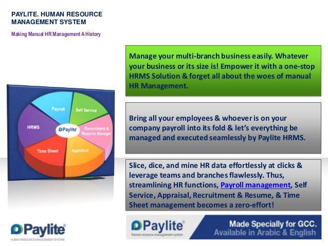 PAYLITE. HUMAN RESOURCE MANAGEMENT SYSTEM Making Manual HR Management A History  Manage your multi-branch business easily....