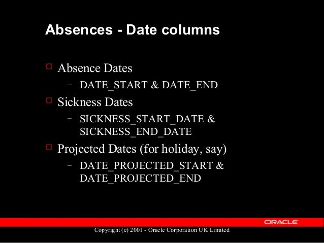 Copyright (c) 2001 - Oracle Corporation UK Limited Absences - Other data  Absences can be recorded in Days or Hours – ABS...