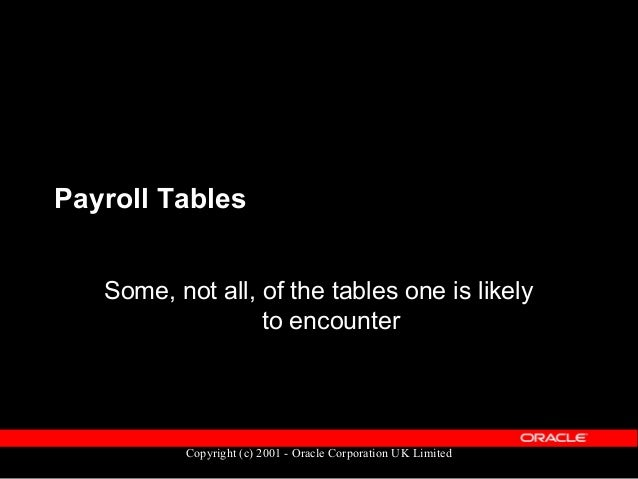 Copyright (c) 2001 - Oracle Corporation UK Limited Payroll Tables  Tables holding set-up & configuration information  Ta...