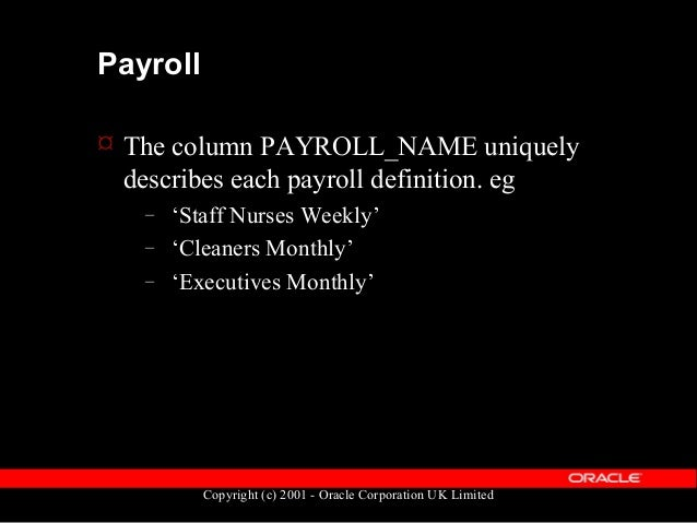 Copyright (c) 2001 - Oracle Corporation UK Limited Payroll  The Payroll definition holds other info: – Defaults for Payme...