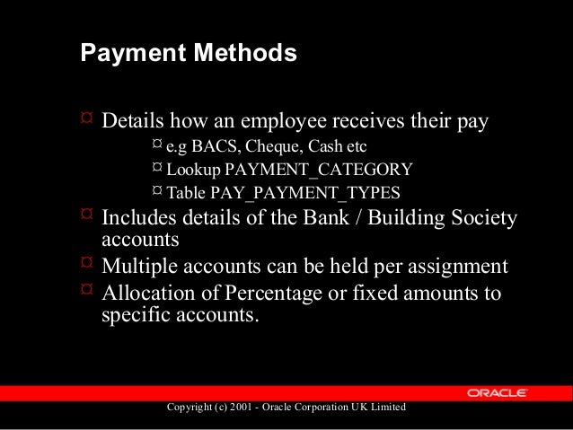 Copyright (c) 2001 - Oracle Corporation UK Limited Payment Methods  Payment method types held in the table PAY_ORG_PAYMEN...