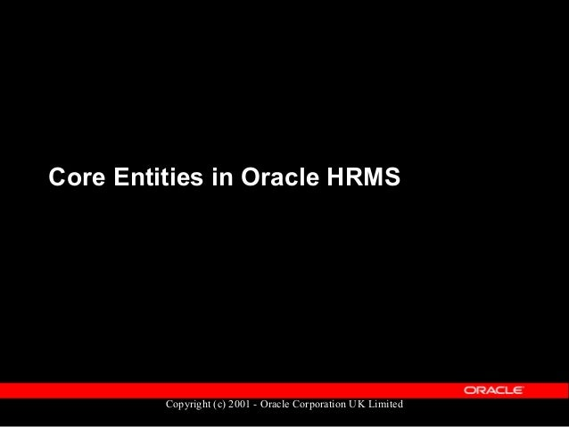 Copyright (c) 2001 - Oracle Corporation UK Limited Core HR Entities  PERSON  ASSIGNMENT  PERIOD of SERVICE  ORGANIZATI...