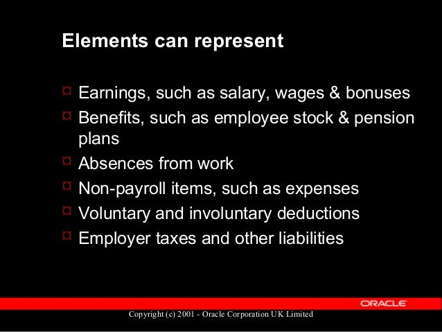 Copyright (c) 2001 - Oracle Corporation UK Limited Predefined Elements  UK Payroll legislation provides many predefined e...