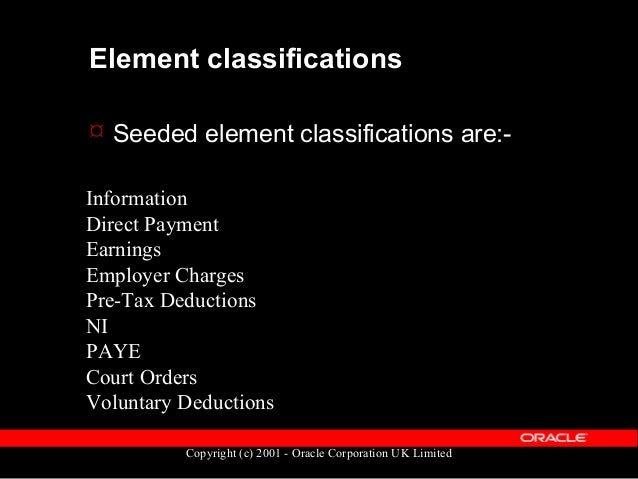 Copyright (c) 2001 - Oracle Corporation UK Limited Element Tables: Definition  Element definitions are held in the table ...