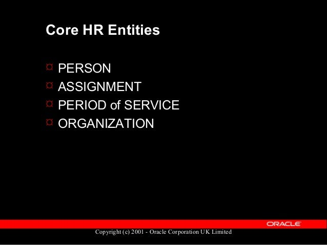 Copyright (c) 2001 - Oracle Corporation UK Limited PERSON  Holds non-employment information – Name – Title – Date of Birt...