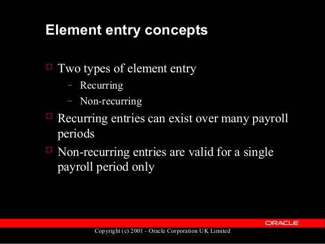 Copyright (c) 2001 - Oracle Corporation UK Limited Element entry types  There are four element entry types:  Normal Entr...