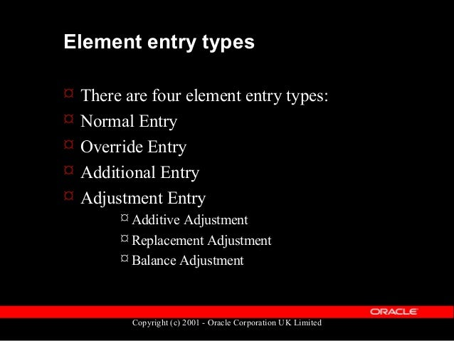 Copyright (c) 2001 - Oracle Corporation UK Limited Element entry creator types  Apart from normal entry, element entries ...