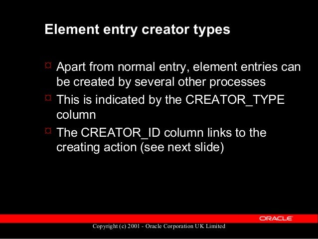Copyright (c) 2001 - Oracle Corporation UK Limited Element creators Creator_id Type Description Creator_ID links to... A A...