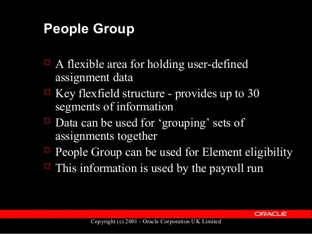 Copyright (c) 2001 - Oracle Corporation UK Limited People Group  Data held in the table PAY_PEOPLE_GROUPS  Primary key P...