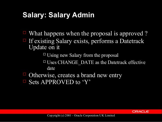 Copyright (c) 2001 - Oracle Corporation UK Limited Salary Admin table diagram pay_element_entry_values_f per_pay_bases PAY...