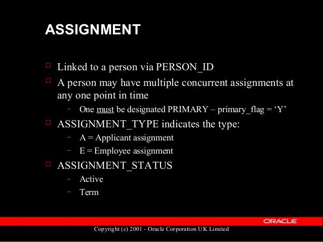 Copyright (c) 2001 - Oracle Corporation UK Limited ASSIGNMENT  Data is held in the table PER_ALL_ASSIGNMENTS_F  Primary ...