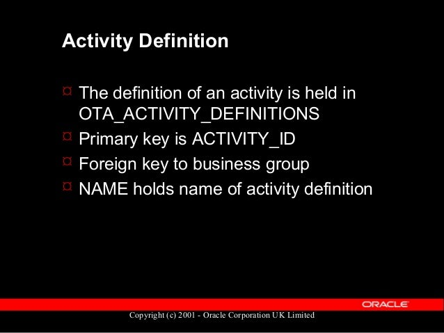 Copyright (c) 2001 - Oracle Corporation UK Limited Activity Version  Defines the content and nature of a particular versi...