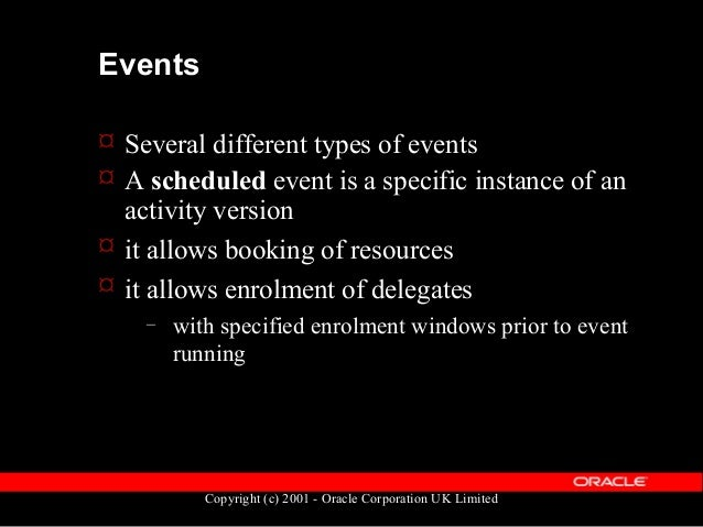 Copyright (c) 2001 - Oracle Corporation UK Limited Events  A session (event) is a unit of time within a scheduled event ...