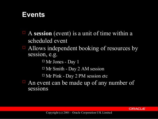 Copyright (c) 2001 - Oracle Corporation UK Limited Events  A development event enables the scheduling of employee time an...