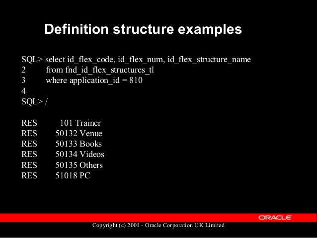 Copyright (c) 2001 - Oracle Corporation UK Limited Definition structure examples 50132 50133 50134 101 SEGMENT1 Name Name ...